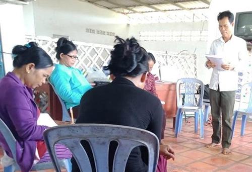women in class in Cambodia